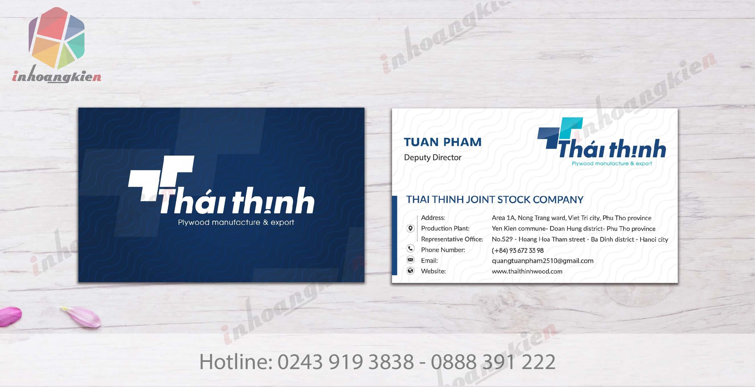 in card công ty Thái Thịnh