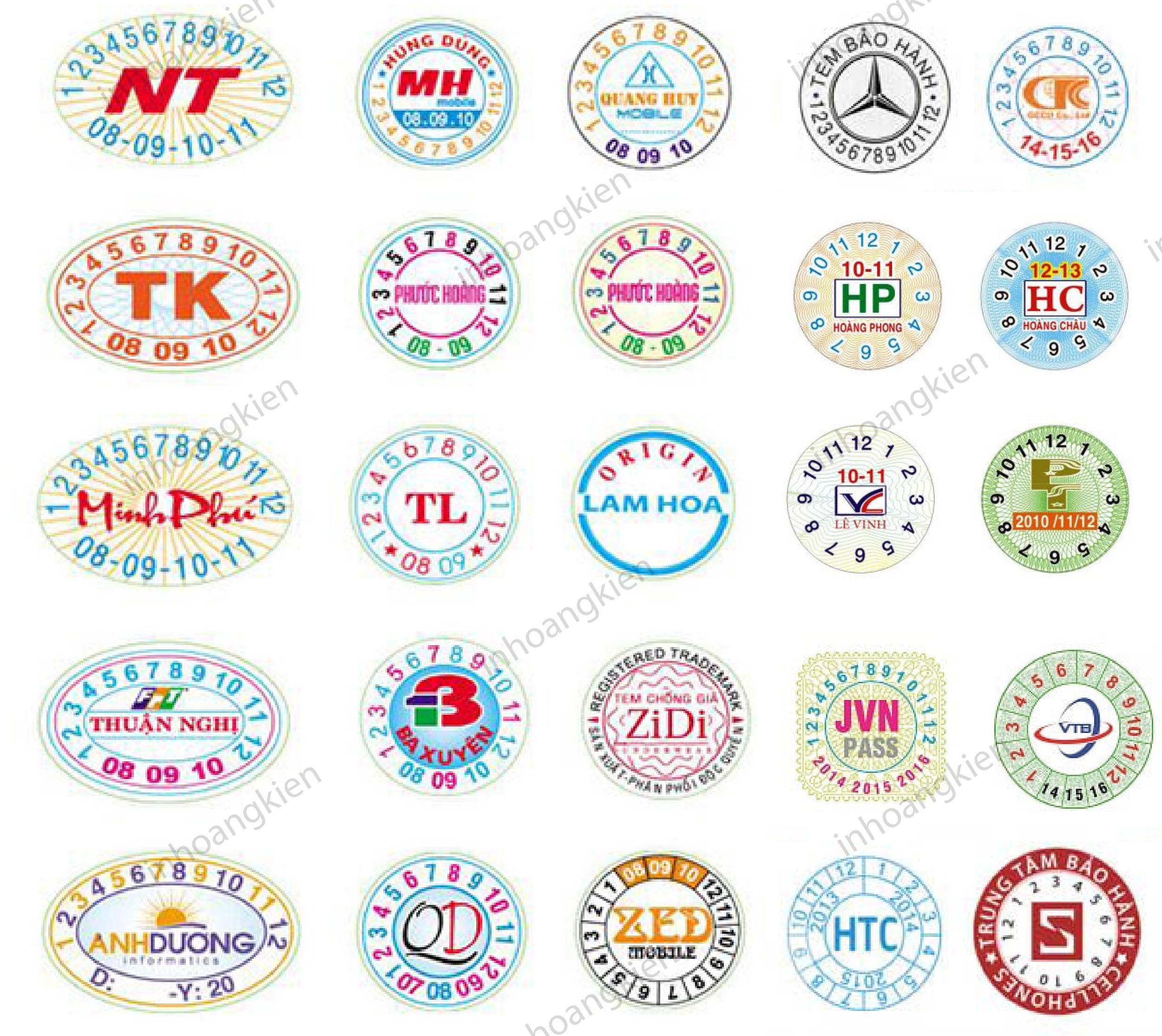 tem bảo hành bế tròn hoặc elip