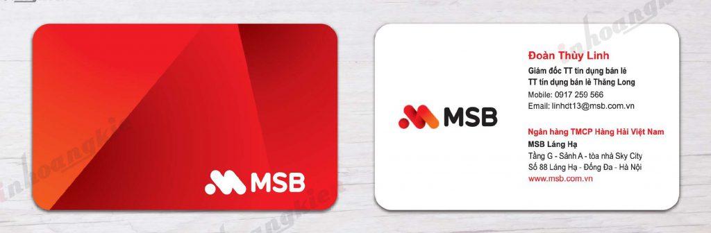 Mẫu card visit ngân hàng MSB