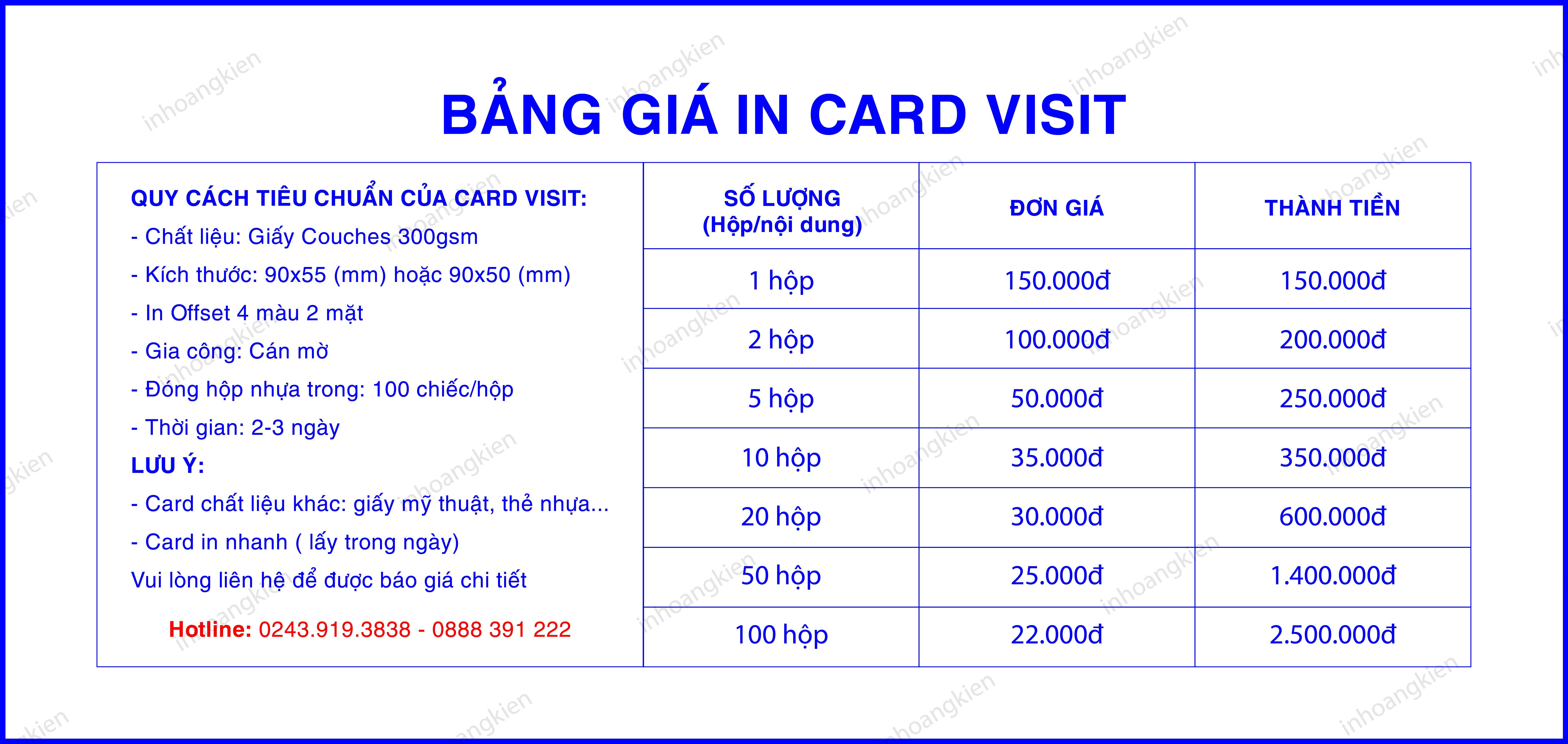 Báo giá card visit, in card giá rẻ Hà Nội, Danh thiếp