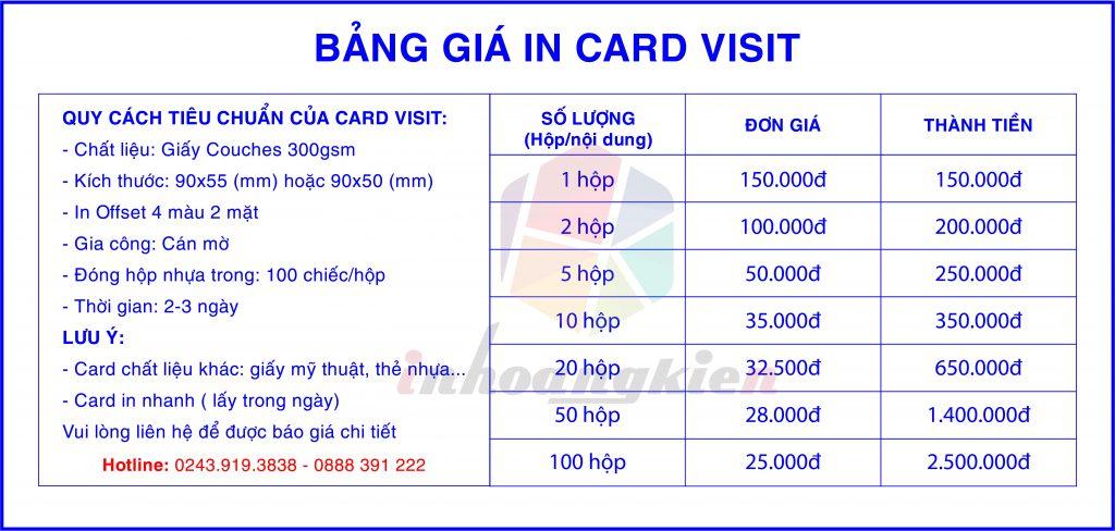 Báo giá card visit giá rẻ