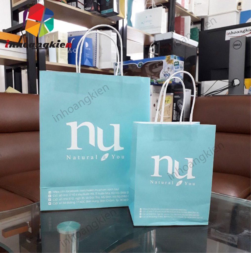 Túi giấy kraft trắng cho shop mỹ phẩm Nụ