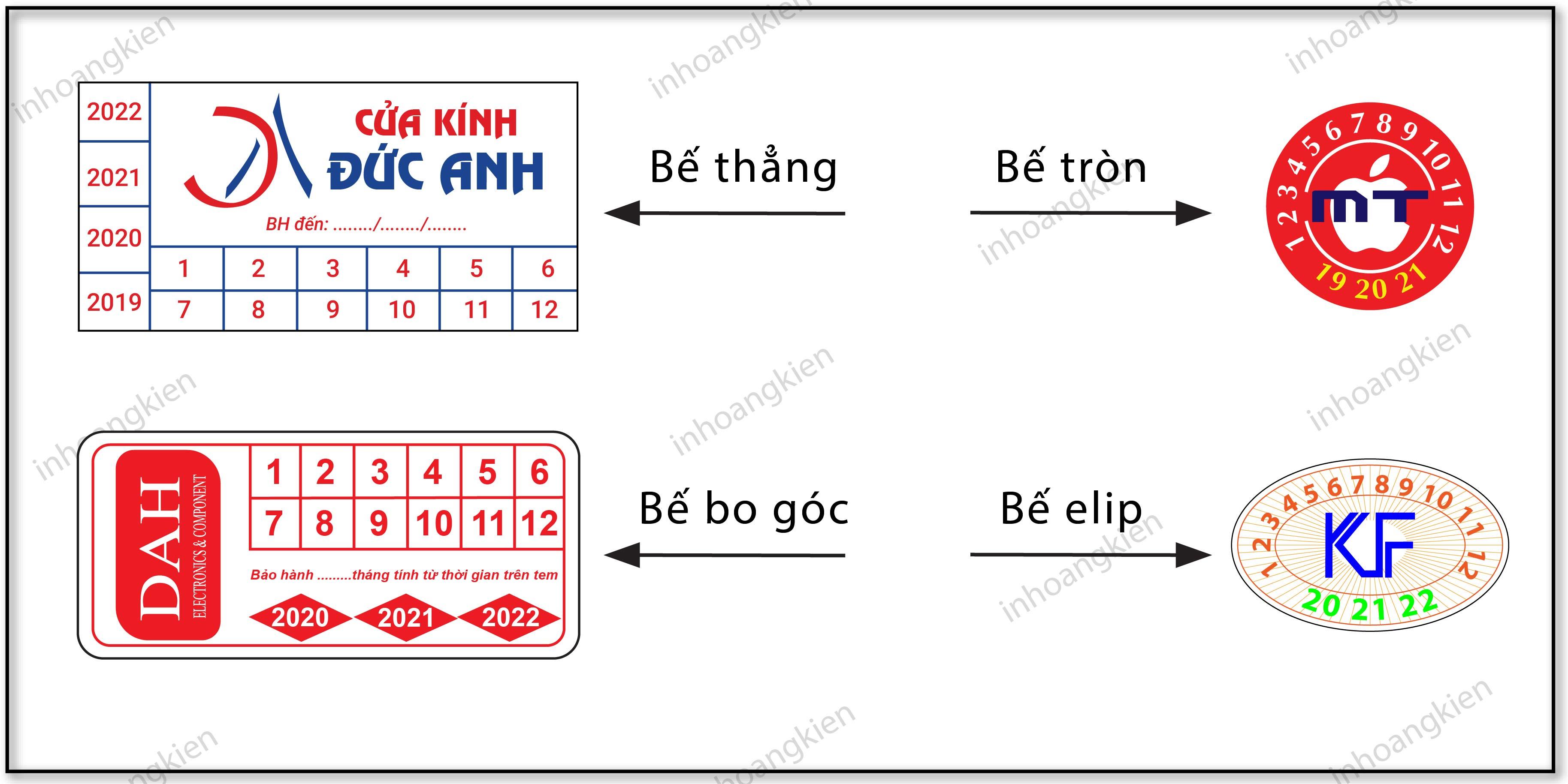 hình dạng bế tem bảo hành