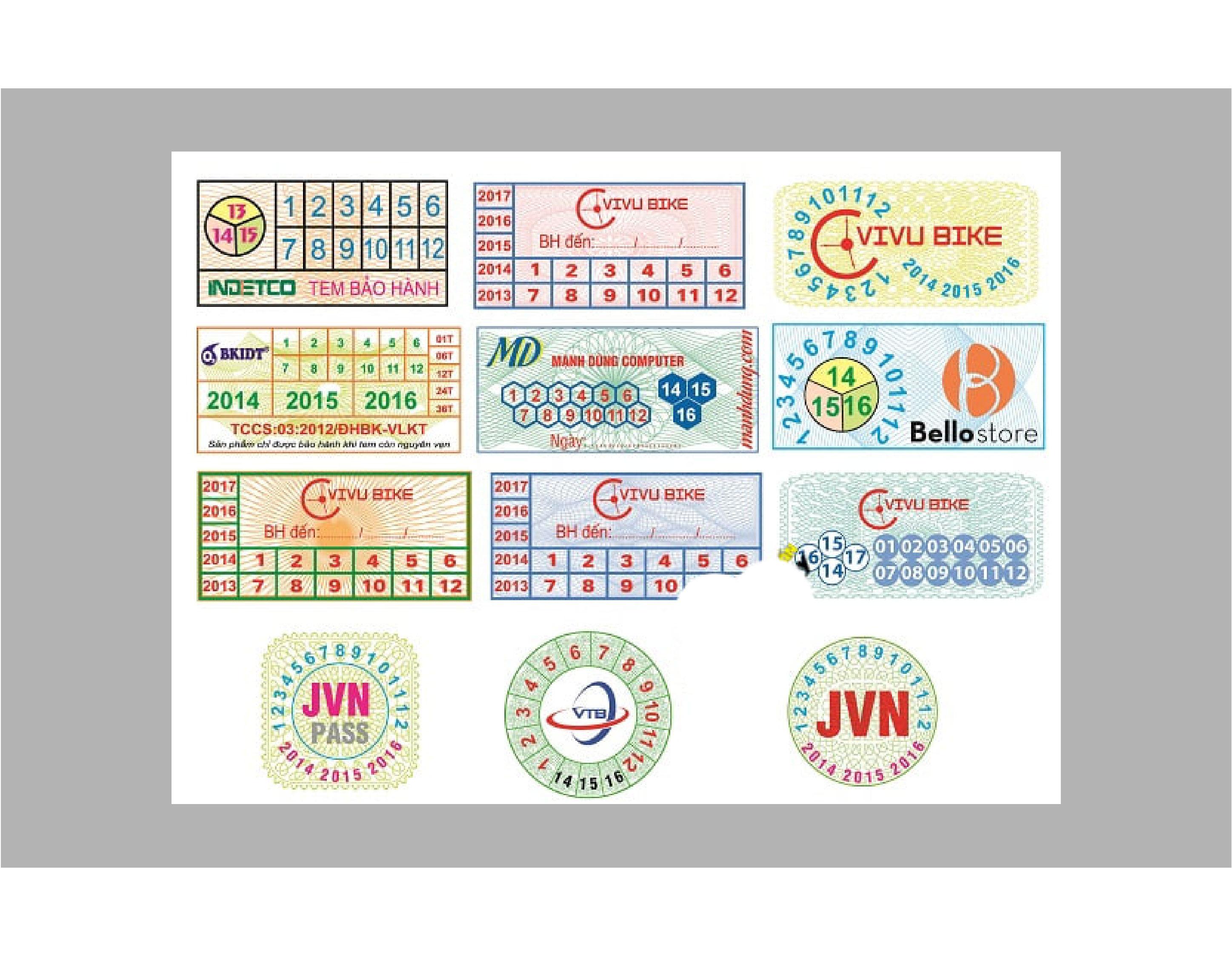 Báo giá in tem bảo hành decal vỡ và decal 7 màu